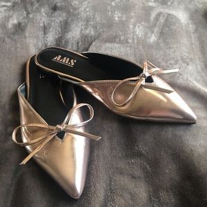 Faux Leather Metallic Bow-Front Mules
